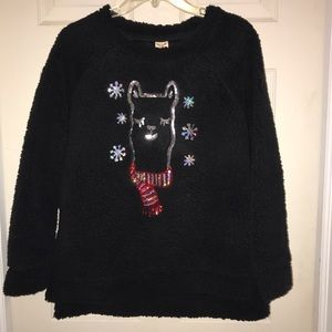 🌴 Faded Glory Women's Black Fuzzy Llama Sweater
